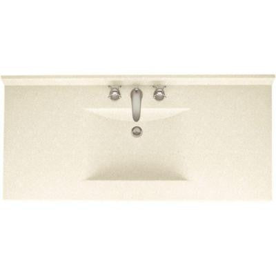 Contour 43 in. W x 22 in. D x 10-1/4 in. H Solid-Surface Vanity Top in Pebble with Pebble Basin