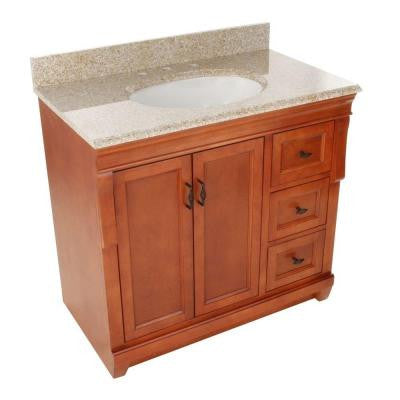 Naples 37 in. W x 22 in. D Vanity with Right Drawers in Warm Cinnamon with Granite Vanity Top in Beige