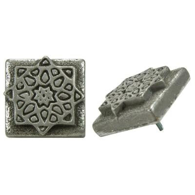 Contempo Starburst Pewter 1-1/5 in. x 1-1/5 in. Mosaic Medallion Pin Insert Wall Tile (4-Pack)