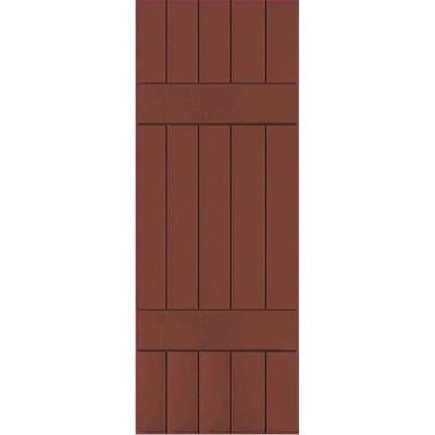 18 in. x 41 in. Exterior Composite Wood Board and Batten Shutters Pair Country Redwood