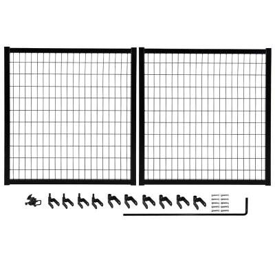 10 ft. x 4 ft. Powder-Coated Steel Double Drive Fence Gate Kit