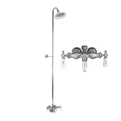 Porcelain Lever 3-Handle Claw Foot Tub Faucet with Diverter, Riser and Showerhead in Polished Chrome