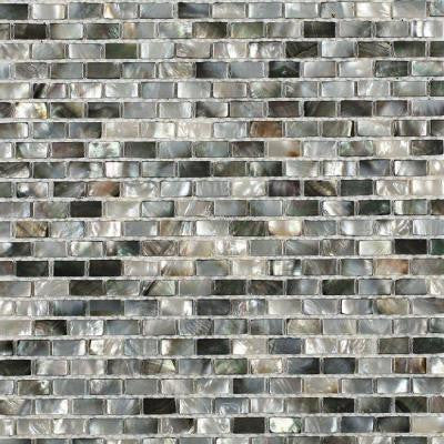 Mother of Pearl Deep Ocean Gray 12 in. x 12 in. x 2 mm Mini Brick Pearl Shell Glass Wall Mosaic Tile