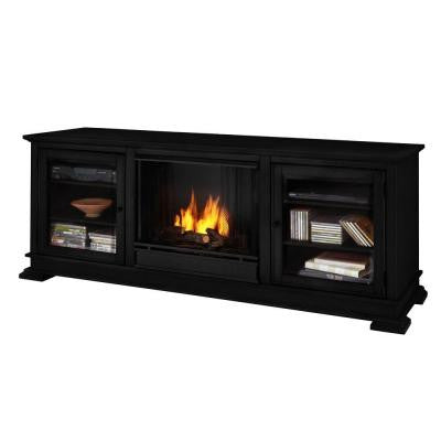 Hudson 68 in. Media Console Gel Fuel Fireplace in Black
