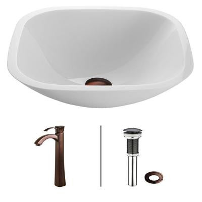 Square Shaped Phoenix Stone Glass Vessel Sink in White with Faucet in Oil Rubbed Bronze