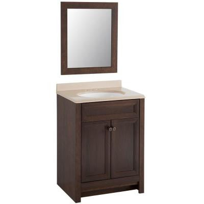 Brinkhill 24 in. W x 18 in. D Vanity in Cognac with Colorpoint Vanity Top in Cappuccino with White Basin and Mirror
