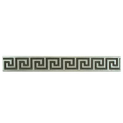 Contempo Greek Key Pewter Liner 8 in. x 1 in. Metallic Wall Trim Tile