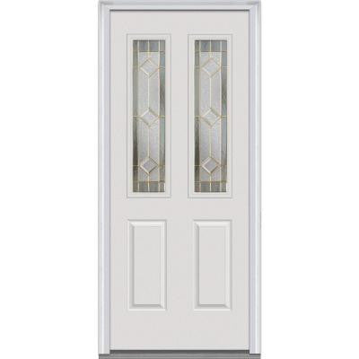 34 in. x 80 in. Majestic Elegance Decorative Glass 2 Lite 2-Panel Primed White Majestic Steel Prehung Front Door
