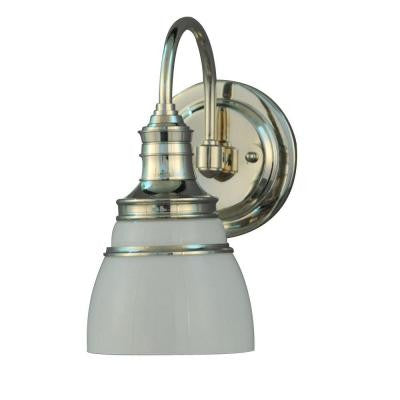 Seal Harbor Collection 1-Light Polished Nickel Plated Wall Sconce