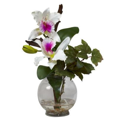 14.5 in. H White Mini Cattleya with Fluted Vase Silk Flower Arrangement