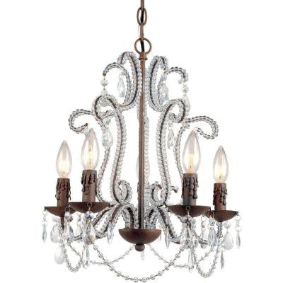 Beloved 5-Light Godiva Mini Chandelier with Crystal Accents