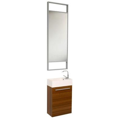 Pulito 16 in. Vanity in Teak with Acrylic Vanity Top in White and Mirror