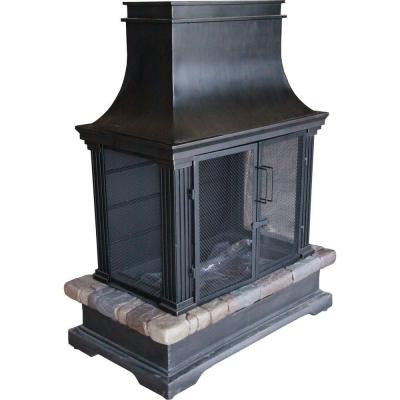 Sevilla 36 in. Steel and Slate Wood Burning Outdoor Fireplace