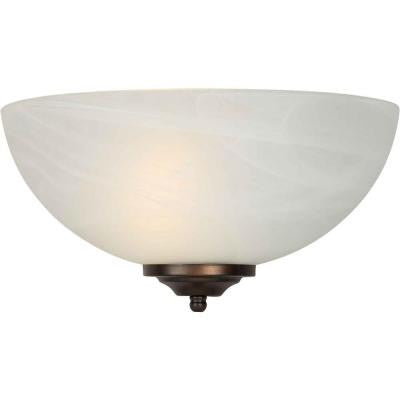 1-Light Brushed Nickel Sconce with Marble Glass
