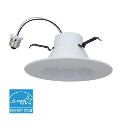 5 in. and 6 in. 75-Watt Equivalent 10-Watt Matte White Dimmable Recessed LED Downlight (2700K)