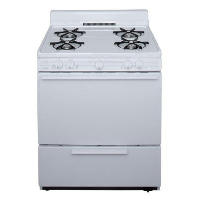 30 in. 3.91 cu. ft. Battery Spark Ignition Gas Range in White