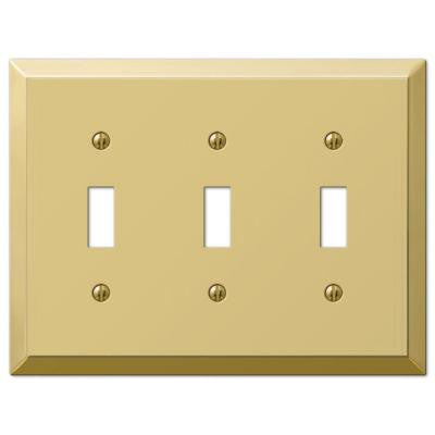 Century Steel 3 Toggle Wall Plate - Brass