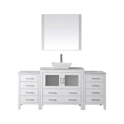 Dior 66 in. Double Vanity in White with Marble Vanity Top in White and Mirror