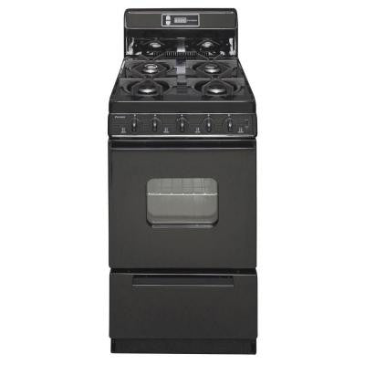 20 in. 2.42 cu. ft. Freestanding Gas Range with Sealed Burners in Black