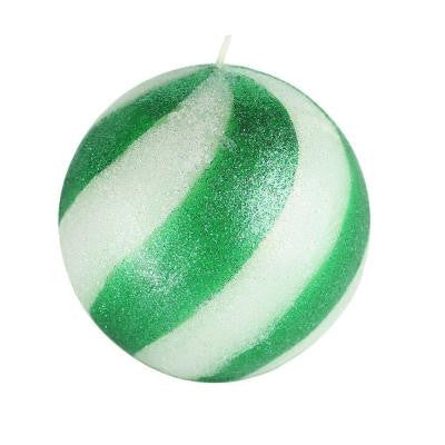 4 in. Green Candy Cane Ball Candle (2-Box)