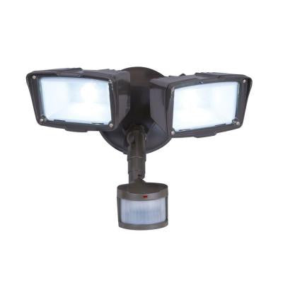 180 Degree Outdoor Bronze Motion Activated LED Twin Security Flood Light
