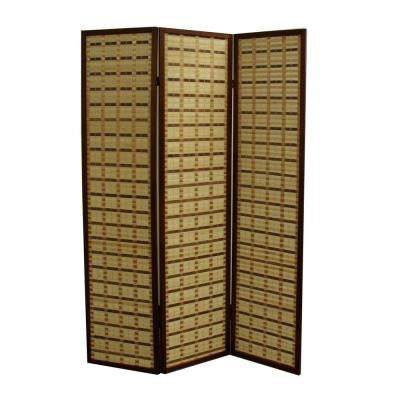 70.25 in. x 17.1 in. 3 Panel 2 Toned Plaid Bamboo Room Divider