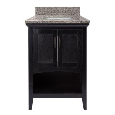 Brattleby 25 in. W x 22 in. D Vanity in Espresso with Granite Vanity Top in Sircolo with White Basin