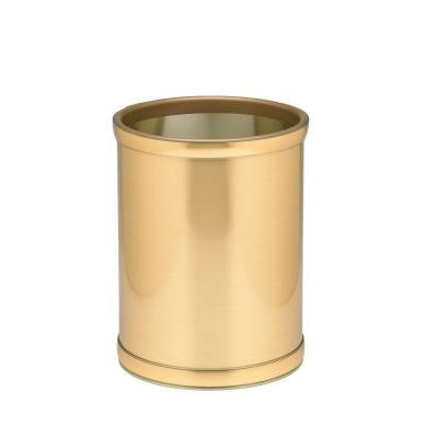 10 in. Brushed Brass Round Mylar Trash Can