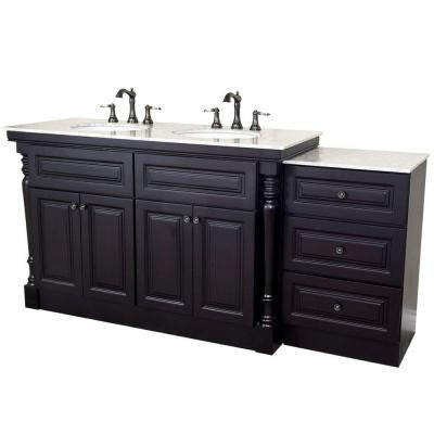 Parma 74 in. Double Vanity in Dark Mahogany with Marble Vanity Top in White