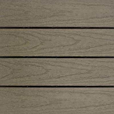 UltraShield Naturale 1 ft. x 1 ft. Outdoor Composite Quick Deck Tile Sample in Egyptian Stone Gray