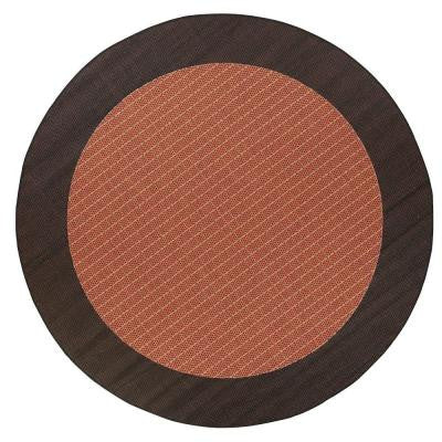 Checkered Field Terracotta 8 ft. 6 in. Round Area Rug