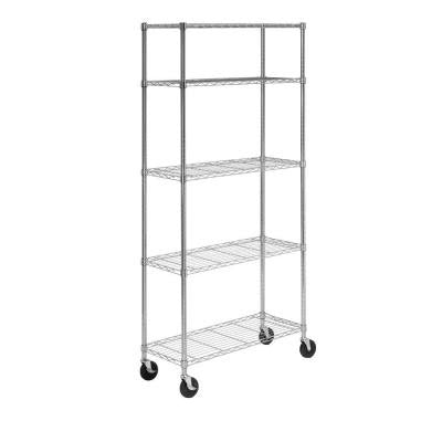 14 in L x 36 in W x 72 in H 5-Tier Chrome Shelving Unit with casters