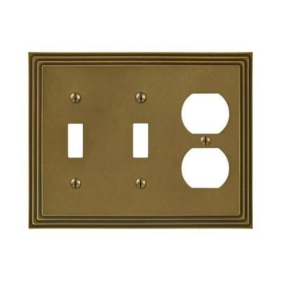 Steps 2 Toggle 1 Duplex Wall Plate - Rustic Brass