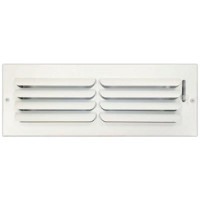 4 in. x 14 in. Ceiling or Wall Register with Curved Single Deflection, White