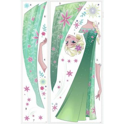 5 in. W x 19 in. H Disney Frozen Fever Elsa 16-Piece Peel and Stick Giant Wall Decal