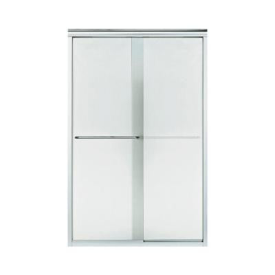 Finesse 47-1/4 in. x 70-5/16 in. Semi-Framed Sliding Shower Door in Silver with Lake Mist Glass Pattern