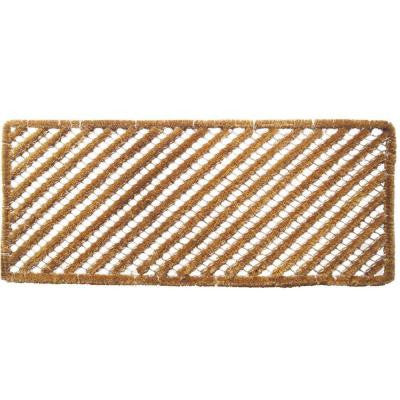 Rectangle Stripes 18 in. x 42 in. Wire Brush Coir Door Mat