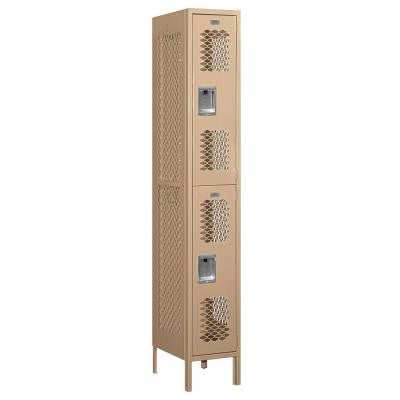 72000 Series 12 in. W x 78 in. H x 18 in. D Double Tier Vented Metal Locker Assembled in Tan