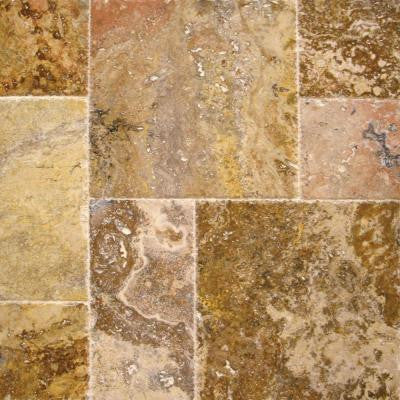 Scabas Pattern Honed-Unfilled-Chipped-Brushed Travertine Floor and Wall Tile (5 kits / 80 sq. ft. / pallet)