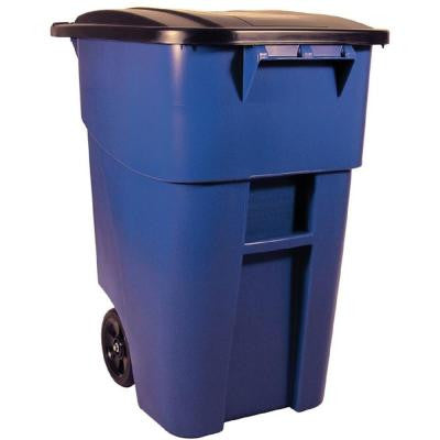BRUTE 50 Gal. Blue Rollout Trash Can with Lid