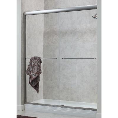Cove 48 in. x 72 in. H. Semi-Framed Sliding Shower Door in Silver with 1/4 in. Clear Glass