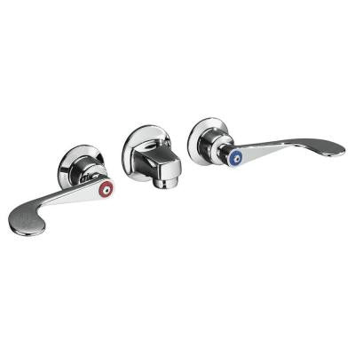 Triton 8 in. Wall Mount 2-Handle Low-Arc Bathroom Faucet in Polished Chrome with Grid Drain