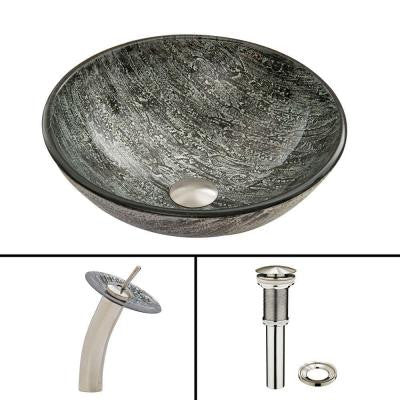 Glass Vessel Sink in Titanium and Waterfall Faucet Set in Brushed Nickel