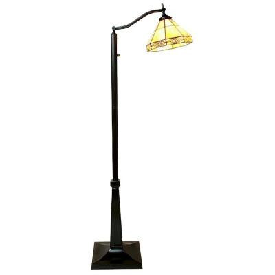 58 in. Mission White Reading Brown Floor Lamp with Foot Switch