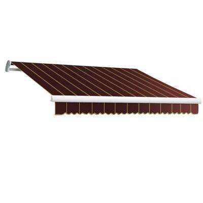 18 ft. Maui-LX Right Motor Retractable Acrylic Awning with Remote (120 in. Projection) in Burgundy/Pin