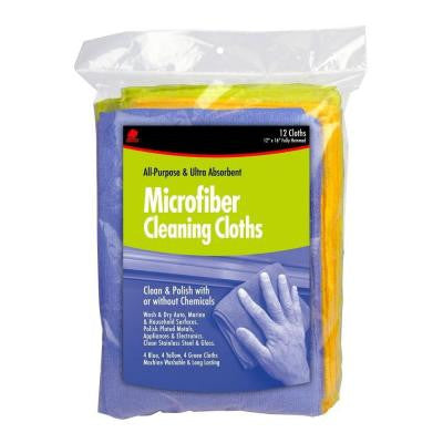 12 in. x 16 in. Colored Microfiber Rags (12-Pack)