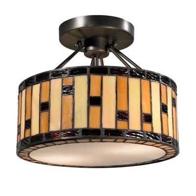 Mojave Tiffany 2-Light Dark Bronze Semi-Flush Mount Light