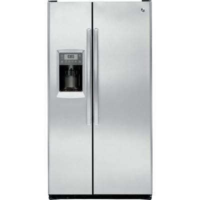 Profile 23.34 cu. ft. Side by Side Refrigerator in Stainless Steel, Counter Depth