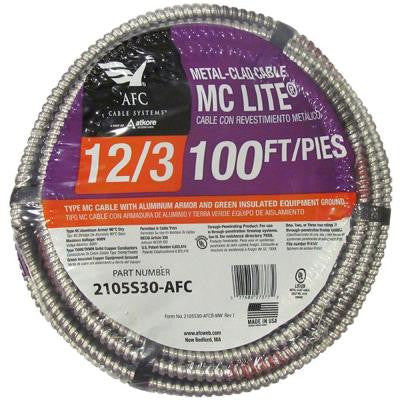 100 ft. 12-3 Solid MC Lite Cable