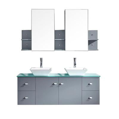 Clarissa 61 in. Double Vanity in Grey with Glass Vanity Top in Aqua and Mirror Cabinets